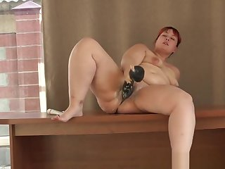 young beautiful bbw with a prominent dildo. hot integument