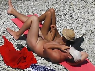 Voyeur. Girl Jerks Off dick will not hear of swain on tap a public beach