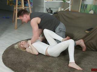 Brutal boyfriend drills mouth and pussy of blond girlfriend Isabel Stern
