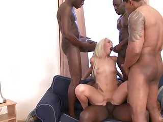 Throbbing haired blonde Jenny Simons gangbanged and covered with cum