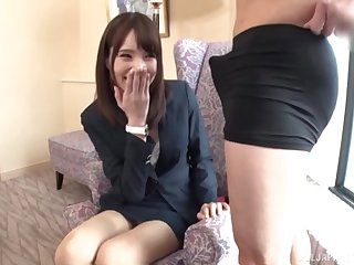 Slender Japanese amateur gives a footjob and gets fucked in be passed on office