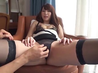 Shy brunette Japanese babe sucks cock in all directions underthings at an assignment