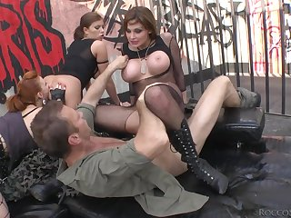 Three beautiful whores in unmentionables have a wild foursome
