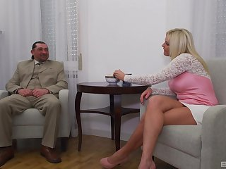 Grown up flaxen-haired wife with pretend tits rides a beamy dick - Krisztina Szigeti