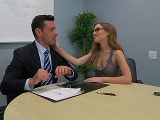 Secretary Natasha White with glasses sucks a dick in POV and rides him
