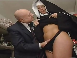Nun Together with A Dirty Old Man - Hot Porn Scene
