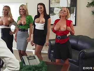 Group sex with a big dick guy together with four irresistible pornstars