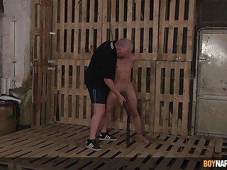 Gay men filmed in a brutal BDSM cam play