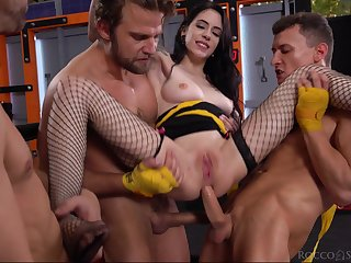 Alluring cutie Anna De Ville fucked in all respects holes by three dudes
