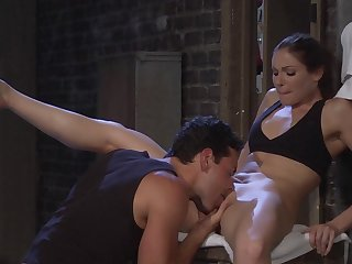 Sparks fly in a little while sizzling starlet Samantha Ryan fucks a guy