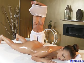 Wild tribadic sex on the massage table - Claudia Bavel and Foxxi Black