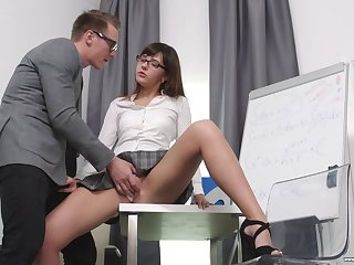 Secretary Katty Blessed drops primarily her knees to please her boss