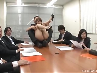Natural boobs Ayami Shunka fucked on the office table at the end of one's tether her hotshot