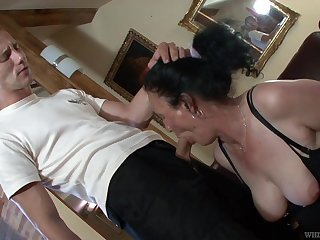 Dressed in black stuff and fishnet stuff mature whore Marianna is fucked
