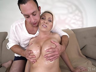 Hot independent woman over 60 Bibi Pink is fucked by masseur boy
