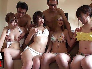 Asian bikini girls hot group sex
