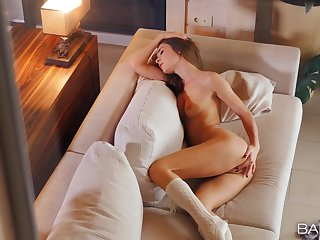 Sensual babe feels pussy to a stunning habitation alone strive