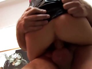 Slutty blonde in pink, fishnet blouse does not care who is going to fuck her, as long as she cums