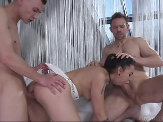 Ass fucked with vulgar threesome and made all over swallow
