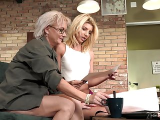 Aging lesbian Elvira is fond be fitting of beautiful young body be fitting of 19 yo model Missy Luv