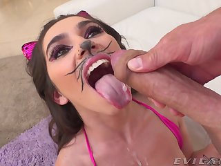 Aroused cutie pie loves role playing when fucking hard