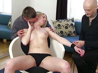 Plumb loco how the young blonde handles both dicks