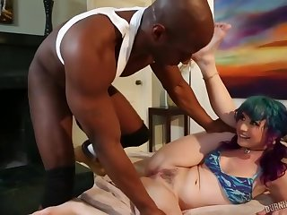 Horny, black guy is about to fuck Proxy Paige and ask pardon her scream from pleasure