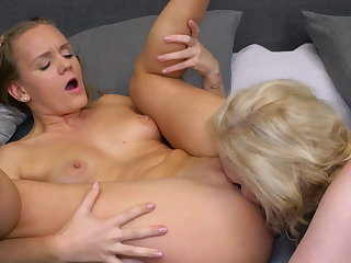 Lesbian 69 making love after a bath with busty mom