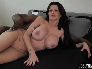 Right after fascinating sideways kinky big breasted MILF Joslyn James rides BBC