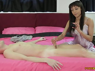 Roused amateur gives the neighbor a good stroke while posing clothed