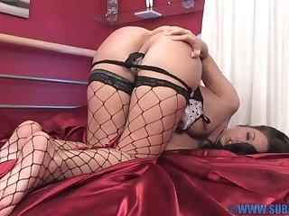 Sexy mature Renee Richards in fishnet stockings having solo fun